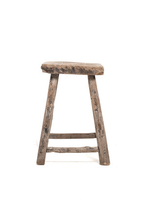 Old square stool elm wood #3