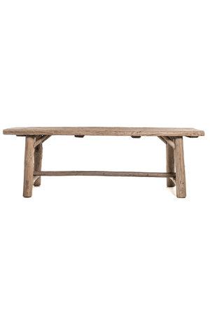 Stoere tafel olmhout met houten poten