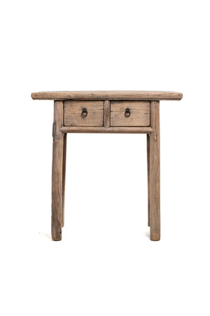 Sidetable with 2 drawers elm wood