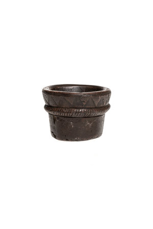 Old stone bowl with motif #4 - India