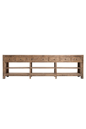 Unique counter with 7 drawers, weathered elm