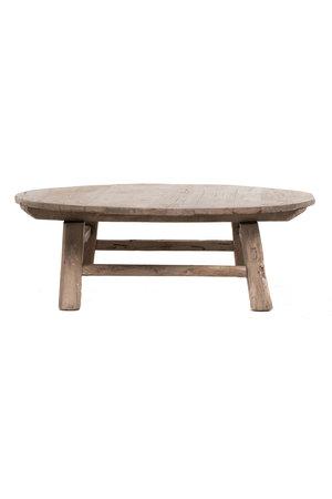 Ronde salontafel olm met houten onderstel - Ø136 x H45cm