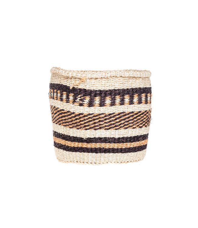 Sisal basket Kenya - earth colors, practical weave #269