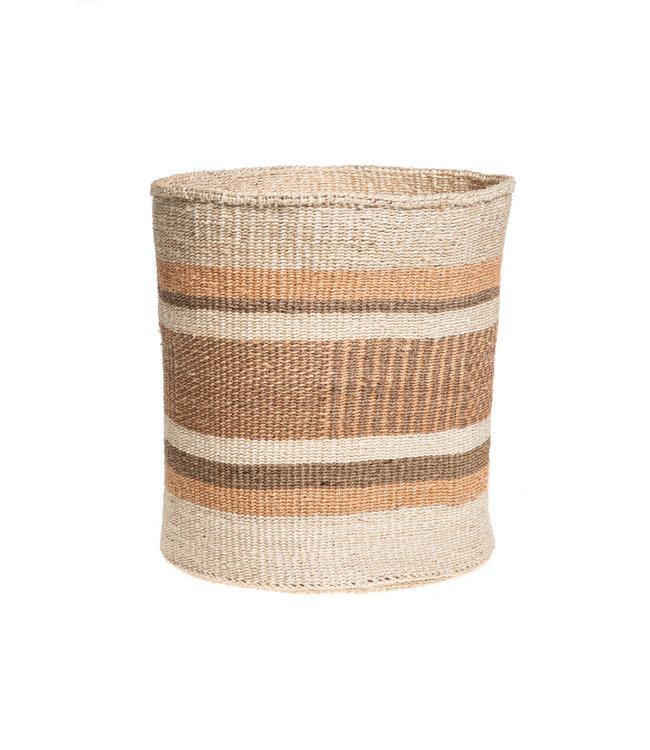 Sisal basket Kenya - earth colors, practical weave #285