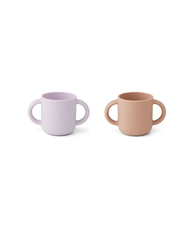 Liewood Gene silicone cup 2-pack - cat light lavender rose mix