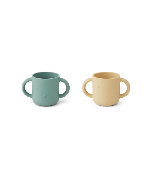 Liewood Gene silicone cup 2-pack - rabbit peppermint wheat yellow mix