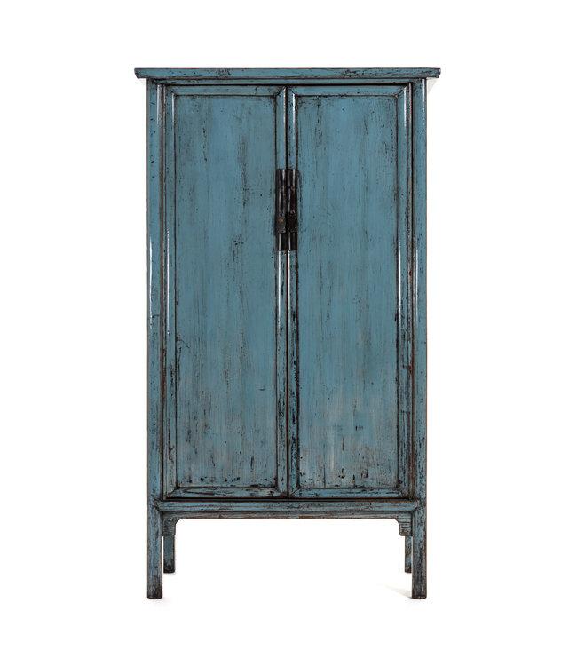 Blauwe Chinese kast met 2 deuren, hoogglans