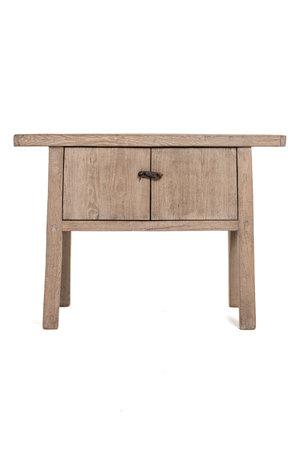 Sidetable elm wood with 2 doors - 112cm