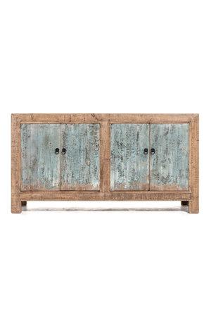 Dressoir olm met blauwe gepatineerde deurtjes