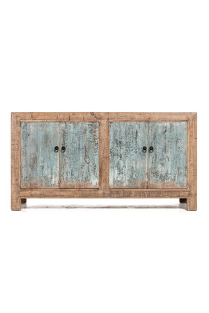 Sideboard with 4 patinated blue doors