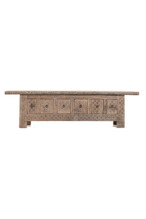 Bench carved elm wood with 6 drawers