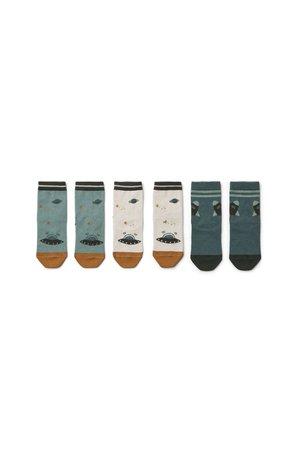 Liewood 3 pack Silas katoenen sokken - space blue mix