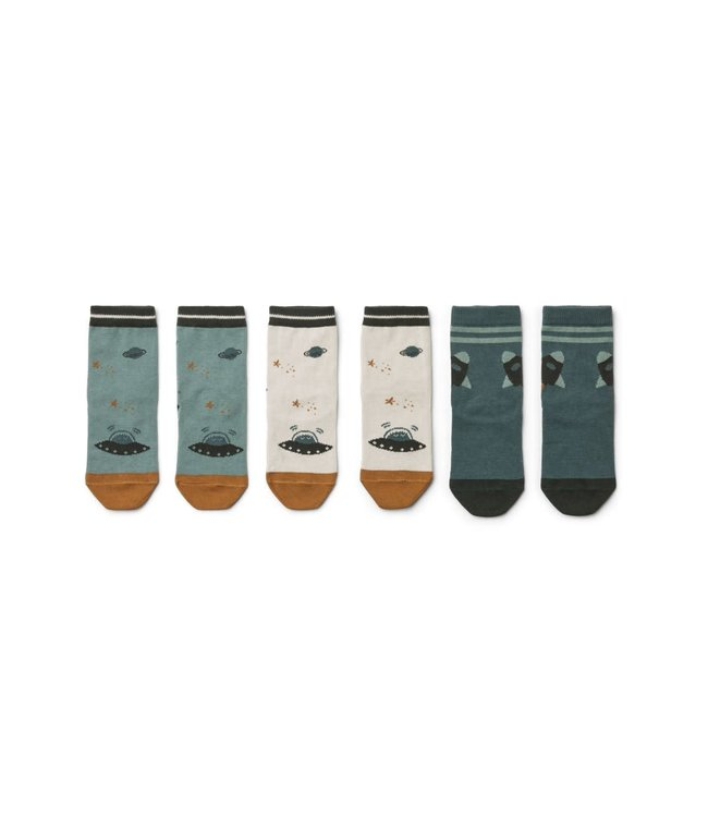 Liewood 3 pack Silas cotton socks - space blue mix