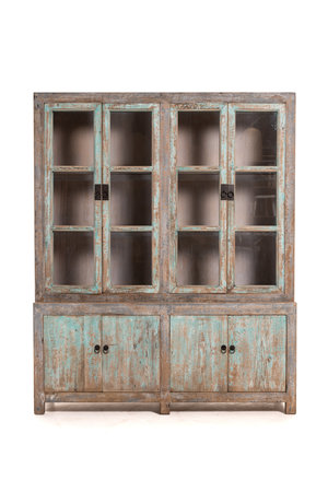 Patinated glass cabinet, light blue