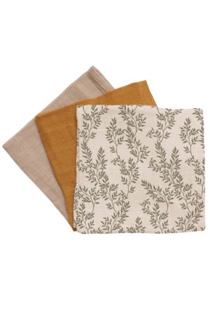 Main Sauvage 3 pack muslin wipes - bay leaves