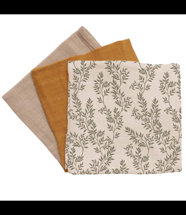 3 pack muslin wipes - bay leaves