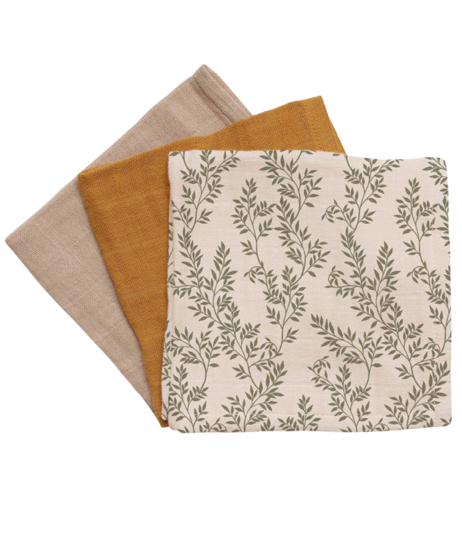 Main Sauvage 3 pack muslin doeken - bay leaves