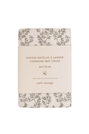 Main Sauvage Changing mat cover - bay leaves