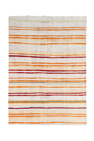 Hand knotted kilim, orange stripes