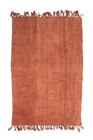 Hand knotted kilim - warm red with fringes