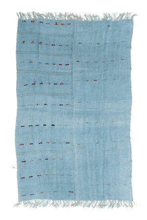 Hand knotted kilim - light blue with fringes