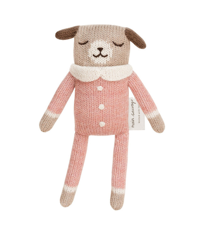 Puppy soft toy, rose jumpsuit