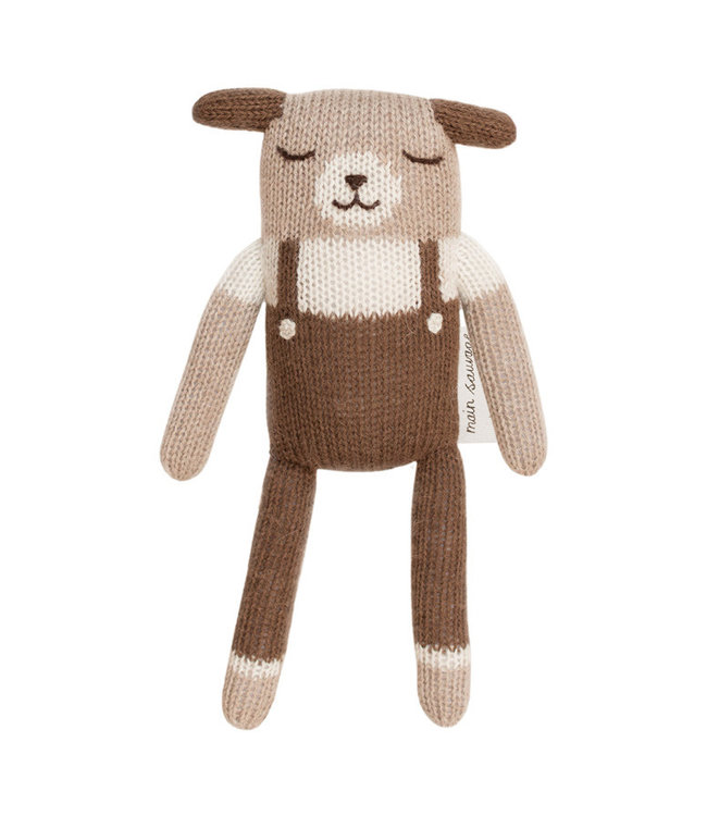 Puppy soft toy, nut overalls