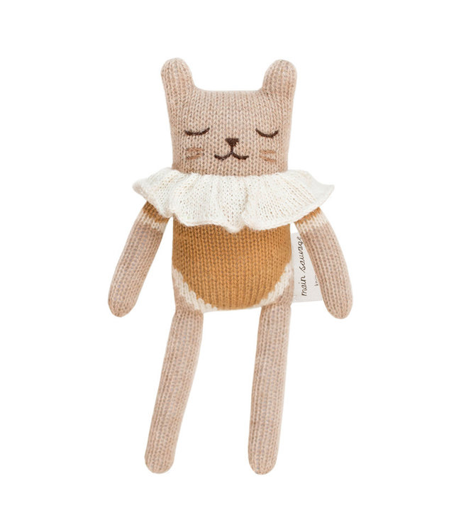 Kitten soft toy, ochre bodysuit