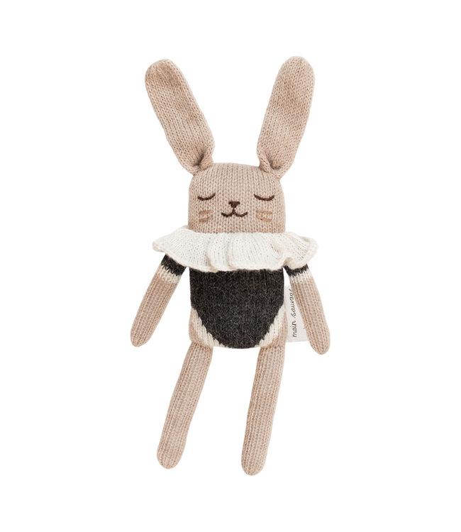 Bunny soft toy, black bodysuit