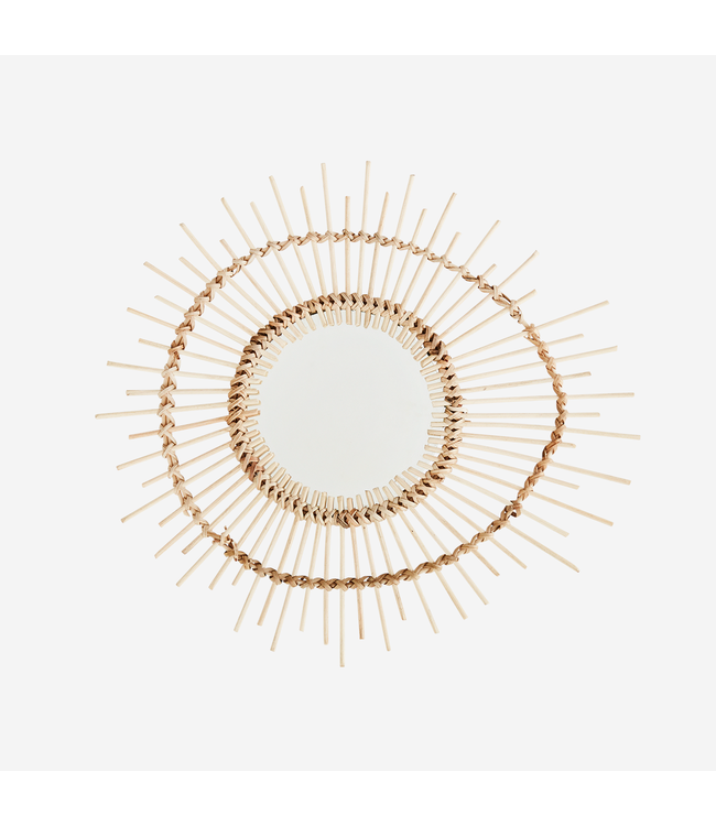 Small oval mirror with bamboo frame