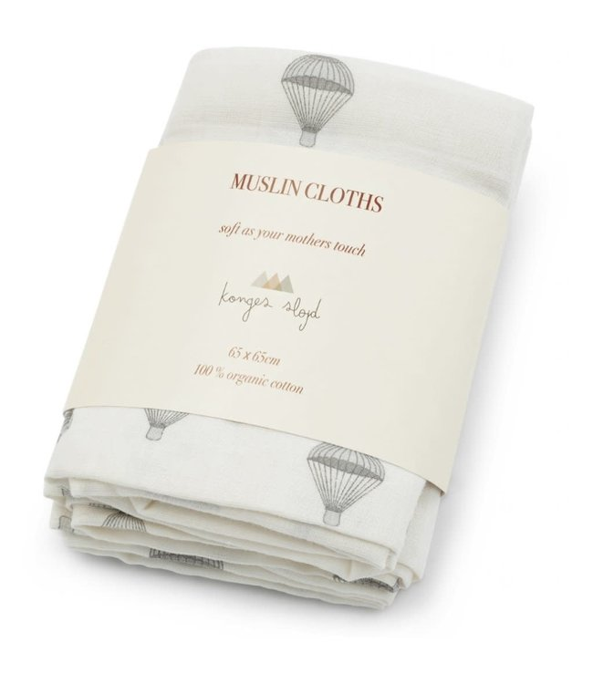 3- Pack muslin doek - parachute creme
