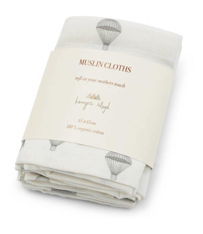 Konges Sløjd 3-Pack muslin cloth - parachute creme