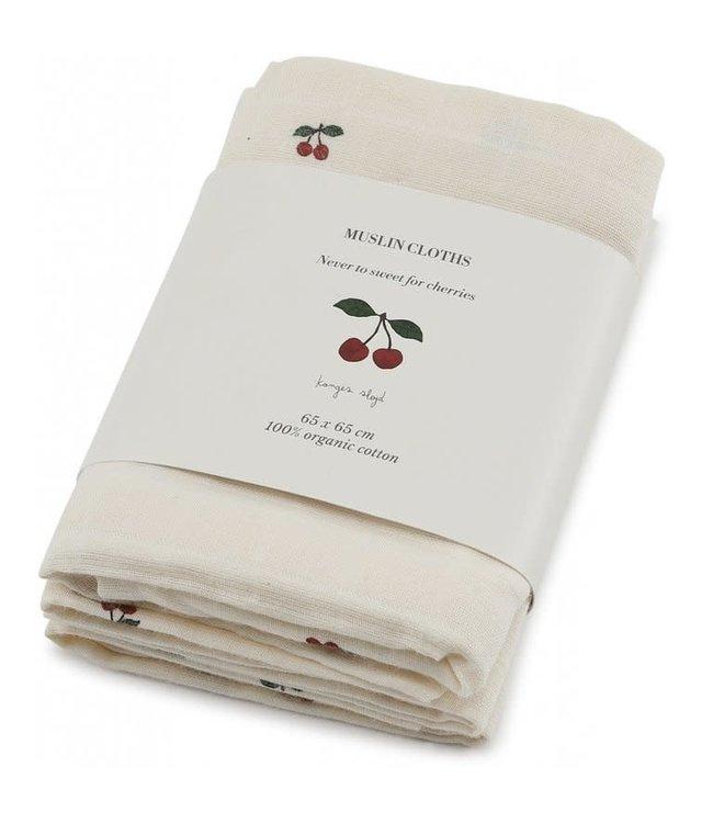 3-Pack muslin cloth - cherry