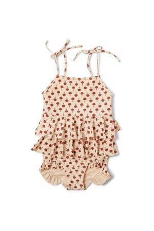 Konges Sløjd Manuca frill swimsuit - poppyflower red
