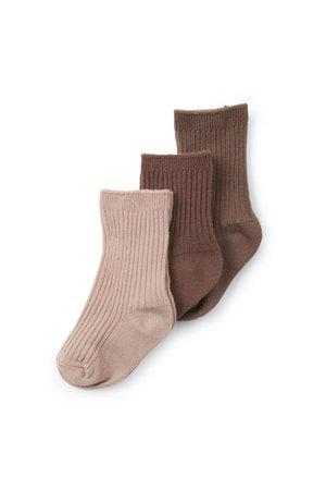 Konges Sløjd 3-Pack rib socks - mocca/rose blush/choco bean