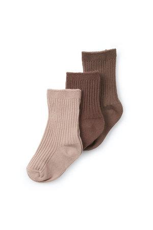 Konges Sløjd 3-Pack rib sokken - mocca/rose blush/choco bean
