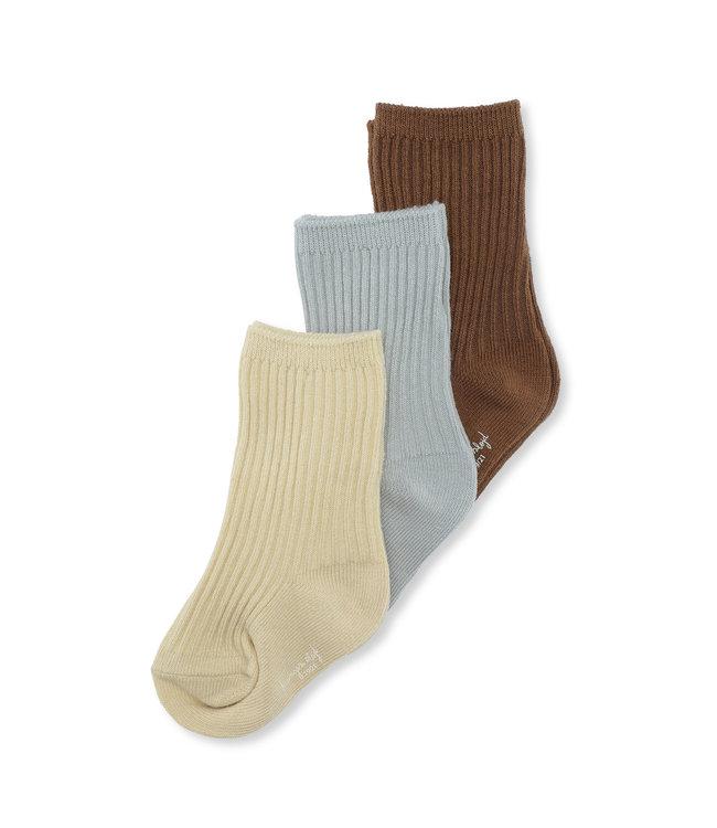 Konges Sløjd 3-Pack rib socks - breen/mint/sahara sun