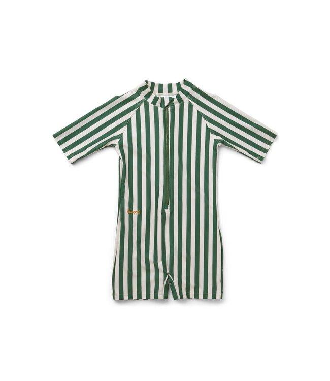Liewood Max swim jumpsuit - stripe: garden green/sandy