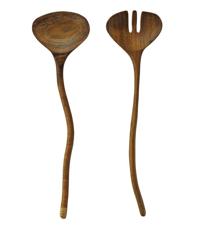 Teak natural shaped serving set