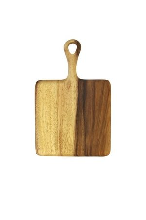 Acacia square board with short handle - small