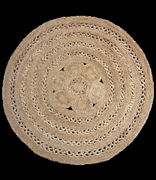 Rond jute gevlochten tapijt - naturel