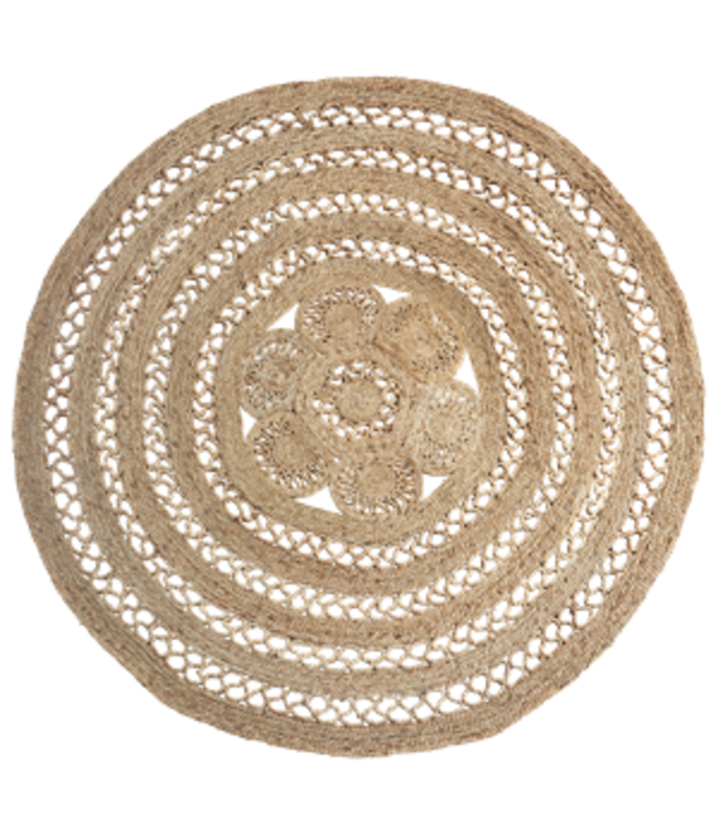 Round jute braided rug - natural