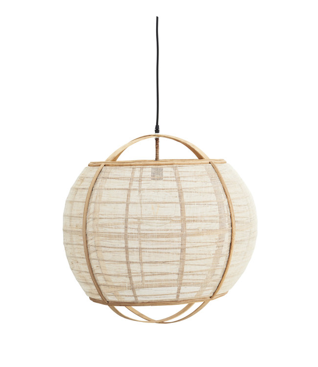 Round bamboo ceiling lamp with linen