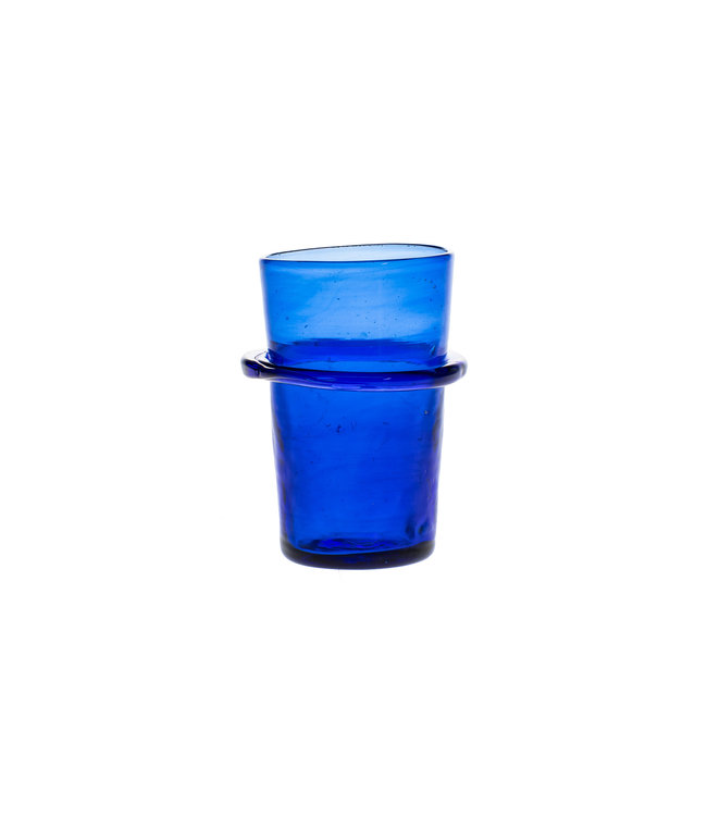 Mouth blown ringed glass - blue