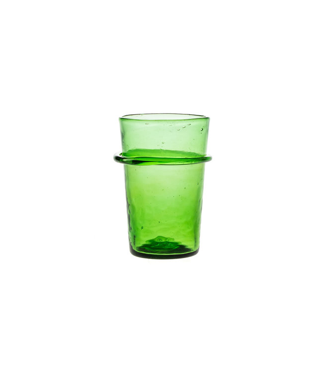 Mouth blown ringed glass - green