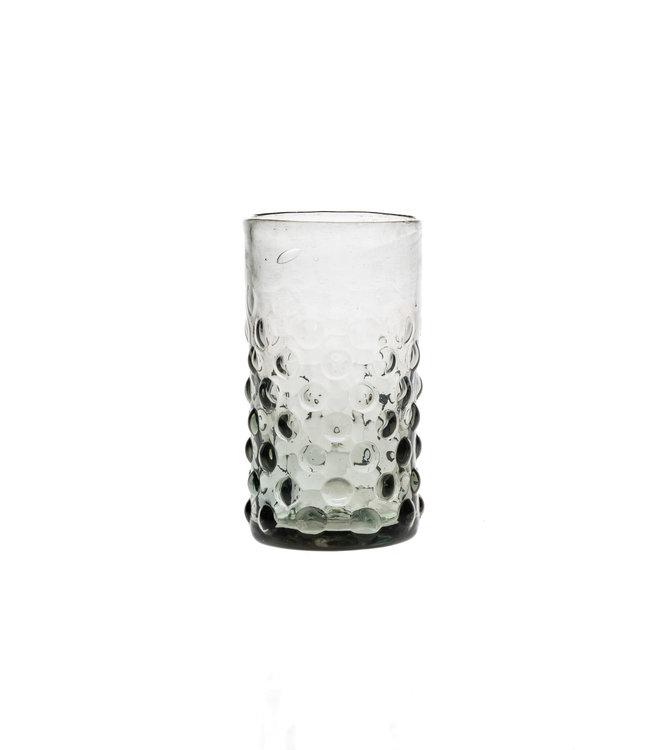 Mondgeblazen glas met bubbels - grijs