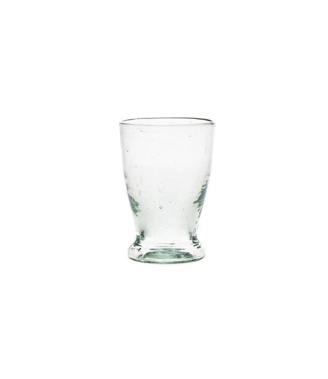 Mondgeblazen glas met lage voet - transparant