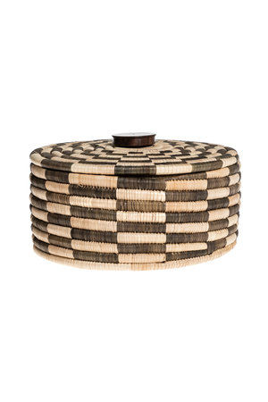 Palm cylinder storage basket with lid - pattern