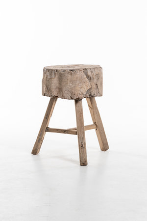 Trunk stool elm wood #17