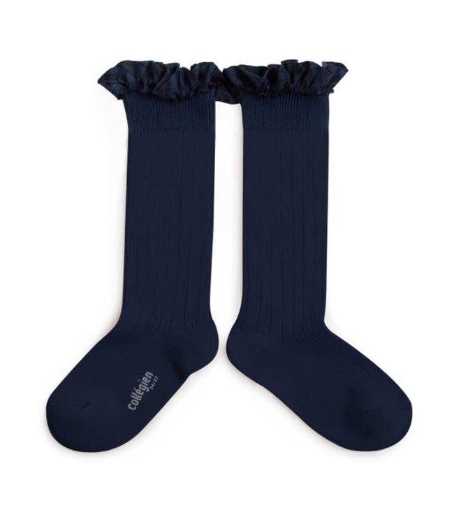 Collégien Arabelle - high socks with ruffle - nuit etoilée